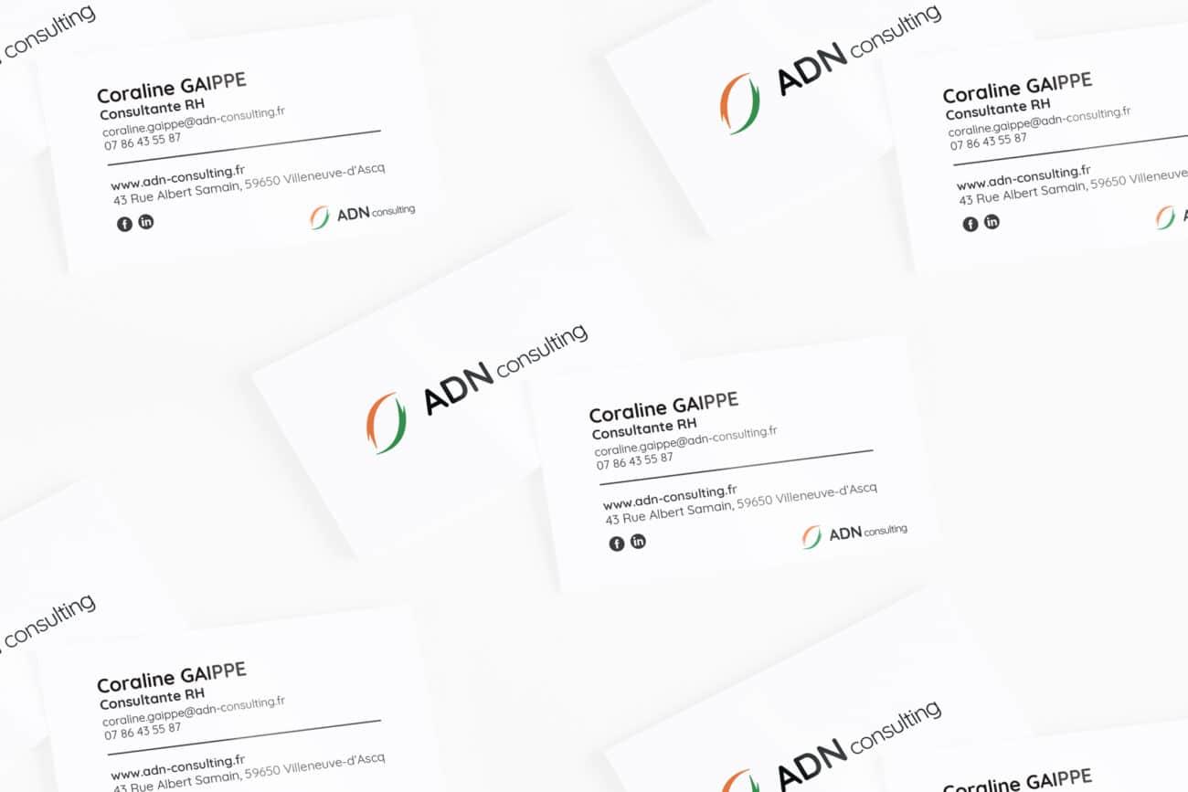 Création cartes de visite Lille ADN consulting