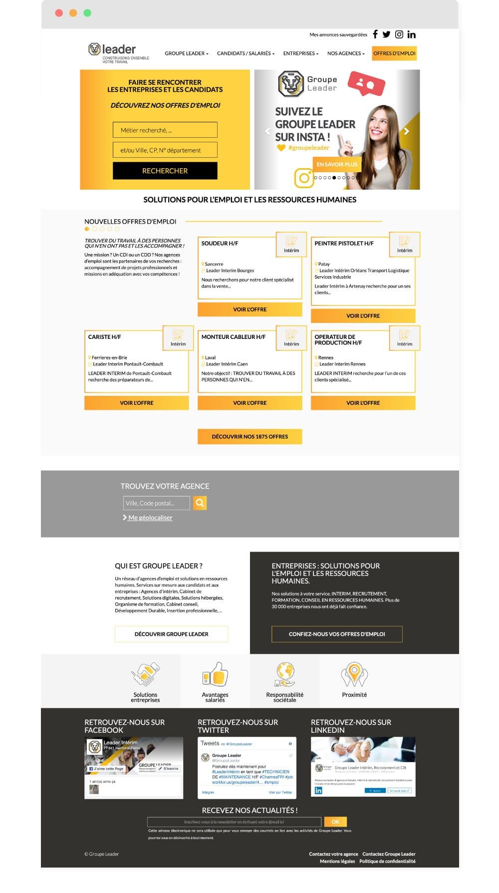 Refonte Site Vitrine Lille - Groupe Leader