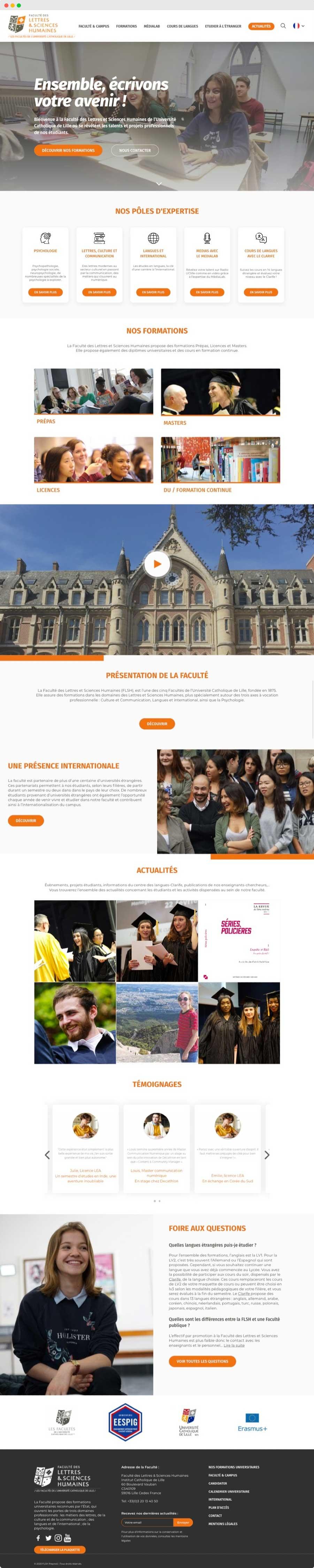 Home page refonte site vitrine flsh