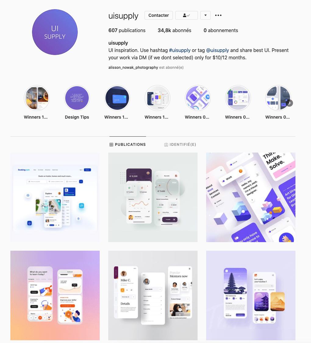 UI supply compte instagram